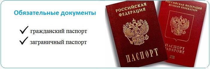 обязательные документы на визу - паспорт и загранпаспорт